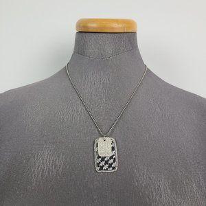 Swarovski Silver Crystal Swan Tag Necklace